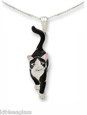 Beautiful Black Kitty Cat Pendant Necklace Enameled Gift Boxed Fast Shipping