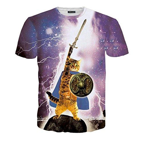 Rxbc Men S Clothing D Printed Epic Cat Warrior T Shirt